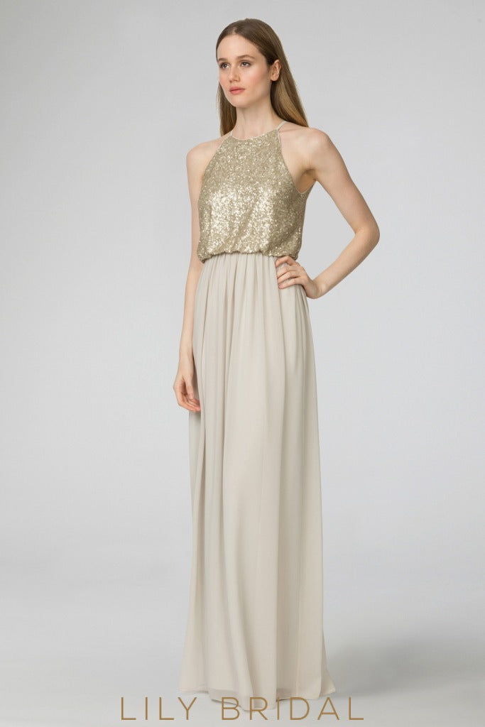 Jewel Sleeveless Floor-Length Champagne Chiffon Bridesmaid Dress With Sequin Bodice