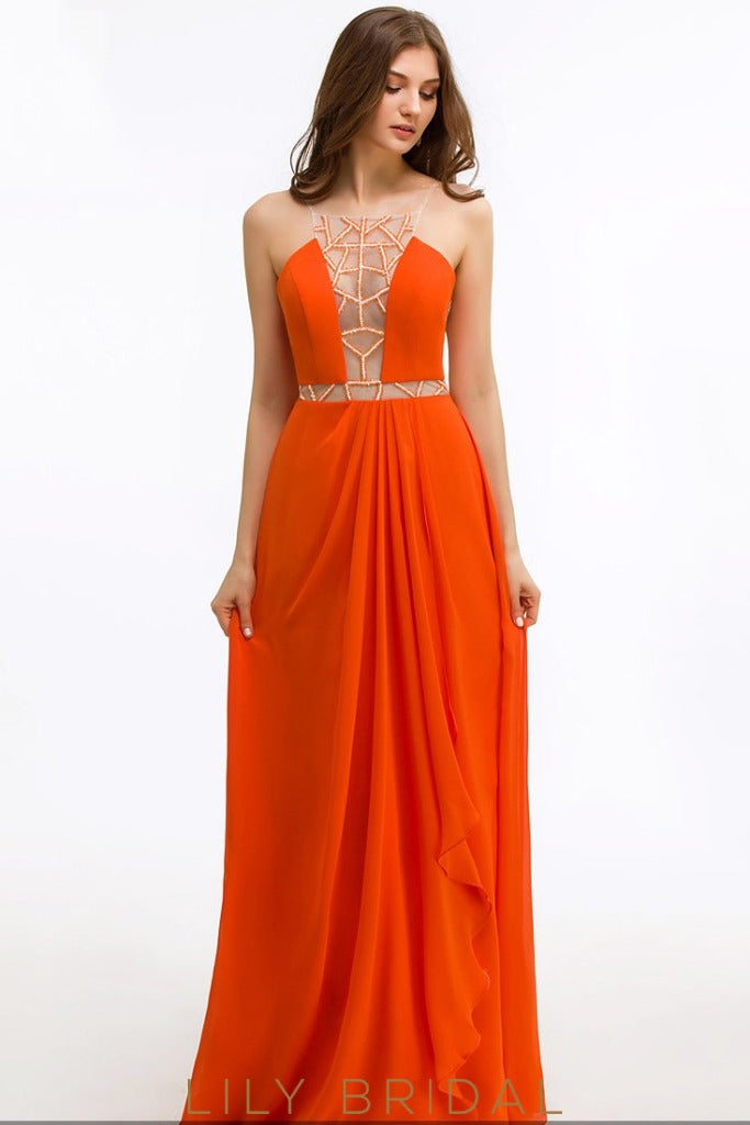 A-Line Chiffon Square Floor-Length Prom Dress