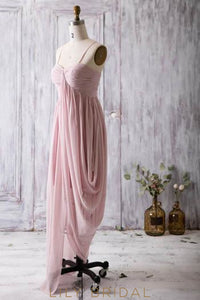 Chiffon Spaghetti Strap Asymmetrical Bridesmaid Dress With Ruching