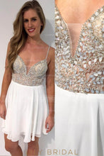 Chiffon Spaghetti Strap Illusion Cocktail Dress With Sequins & Crystal