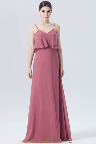 Chiffon Spaghetti Strap Long Bridesmaid Dress With Ruffles