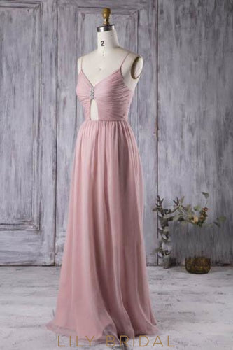 Chiffon Spaghetti Strap Rhinestone Beaded Bridesmaid Dress With Ruched Bodice