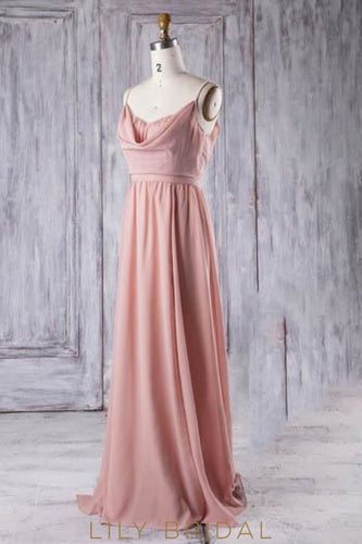Chiffon Strap Sweep Train Bridesmaid Dress With Pearls