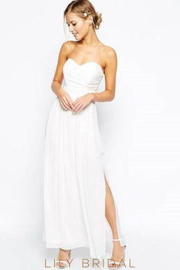 Chiffon Strapless Ankle Length Split Bridal Dress With Sweetheart Neckline