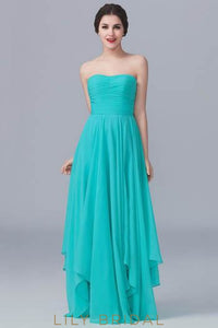 Chiffon Strapless Asymmetrical Bridesmaid Dress With Ruched Bodice