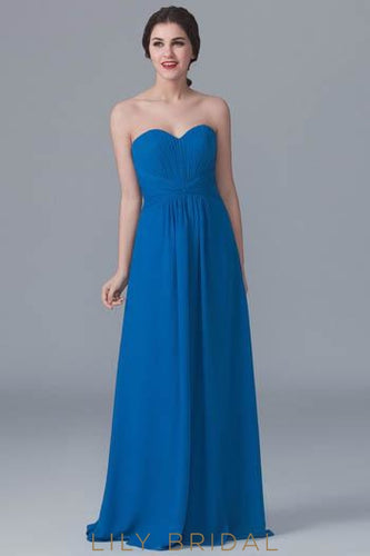 Chiffon Strapless Sweetheart Bridesmaid Dress With Sweep Train