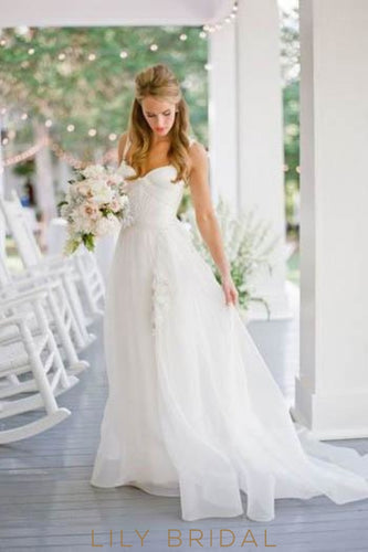 Chiffon Sweetheart Neckline Strap Appliqued Bridal Dress With Sweep Train