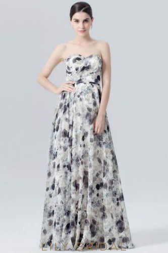 Chiffon Sweetheart Strapless Floor-Length Ruched Floral Print Evening Dress