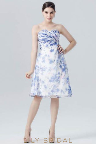 Chiffon Sweetheart Strapless Floral Print Cocktail Dress With Ruching
