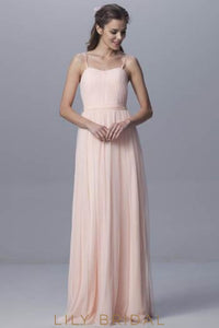 Chiffon Tulle Spaghetti Strap Sweep Train Bridesmaid Dress With Sash