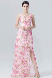 Chiffon V-Neck Floor-Length Floral Print Evening Dress With Slit