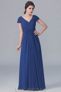 Chiffon V-Neck Floor-Length Ruched Bridesmaid Dress With Cap Sleeve