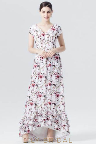 Chiffon V-Neck High-Low Floral Print Evening Dress With Cap Sleeve