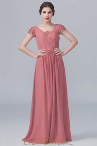 Chiffon V-Neck Sweep Train Bridesmaid Dress With Lace Cap Sleeve