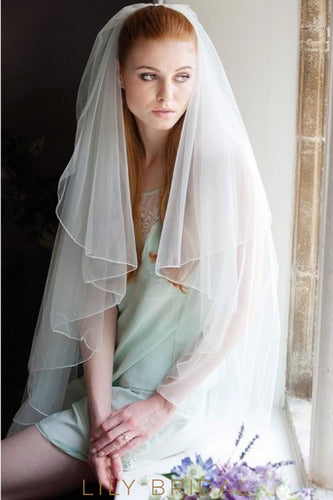 Classic Two Tier Pencil Edge Waist Length Wedding Veil