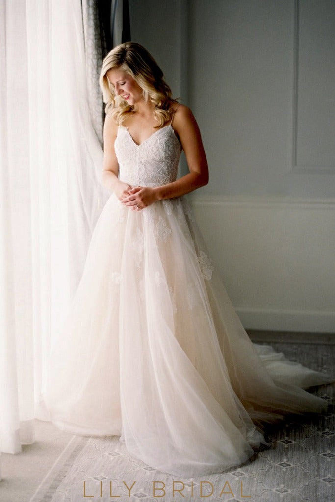 Floor-Length Blush Tulle Wedding Dress