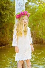 Column Long Sleeve Knee-Length Floral Lace Flower Girl Dress