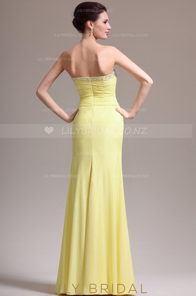 Column Strapless Beaded Split Chiffon Evening Dress With Ruched Bodice