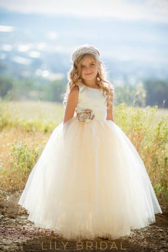 Champagne Jewel Neckline Floor-Length Ball Gown Tulle Flower Girl Dress With Corsage