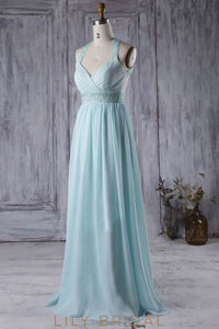 Criss-Cross Back Strap Empire Waist Chiffon Bridesmaid Dress With Beads & Sequins