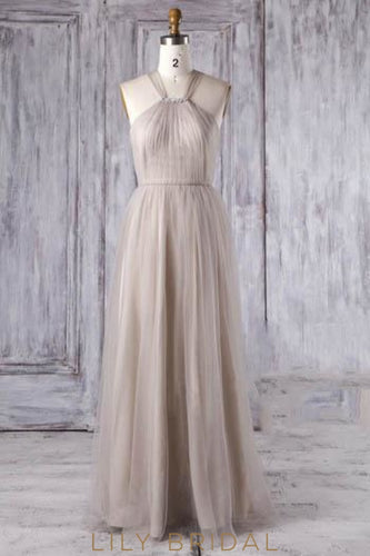 Criss-Cross Back Strap Rhinestone Beaded Tulle Long Bridesmaid Dress