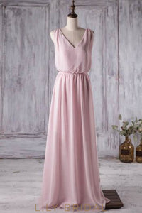 Criss Cross Back V-Neck Chiffon Long Bridesmaid Dress With Sash