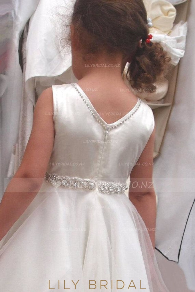 Crystal Beaded A-Line Floor-Length Tulle Satin Flower Girl Dress