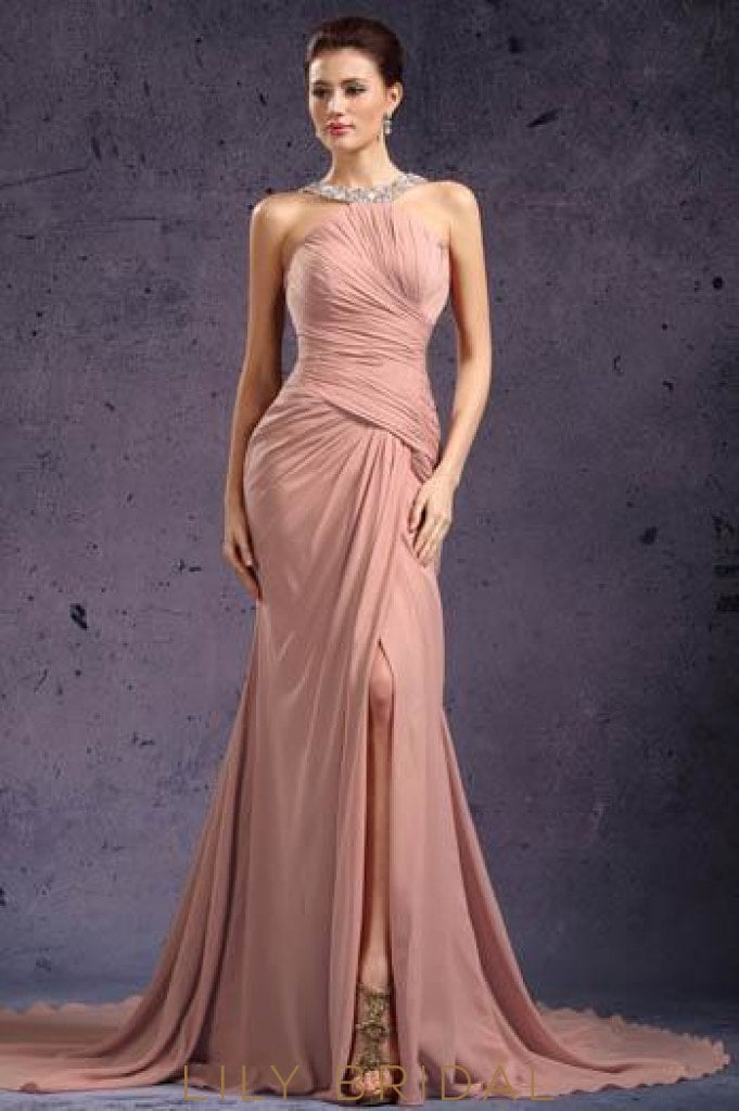 crystal-beaded-neckline-split-long-chiffon-evening-dress-with-ruched-bodice