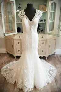 Crystal Beaded V-Neck Cap Sleeve Lace Illusion Bridal Dress