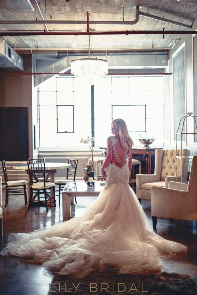crystal embellished court train wedding dress