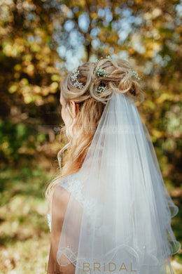Curly Edge Mid-Length Two Layer Wedding Veil With Beads