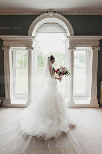 Cut Edge Single Layer Chapel Veil in Silk Effect Tulle