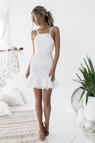 Elegant Lace Spaghetti Straps Sleeveless Zipper-Up Short Cocktail Dress