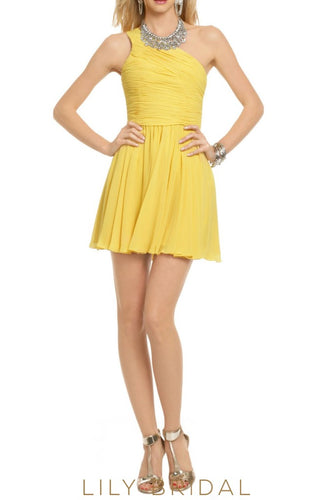 Daffodil Chiffon One-Shoulder A-Line Short Bridesmaid Dress