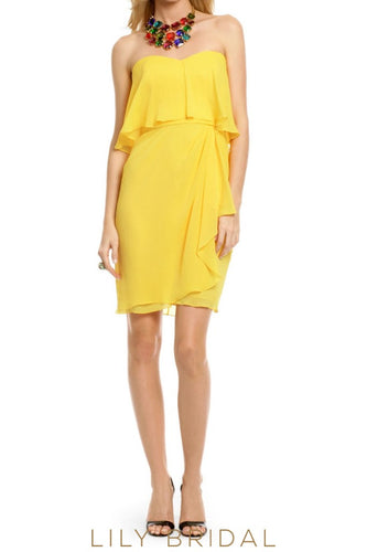 Daffodil Chiffon Strapless Sheath Side-Ruched Short Bridesmaid Dress