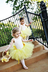 Daffodil Jewel Neck Knee-Length Ball Gown Tulle Flower Girl Dress