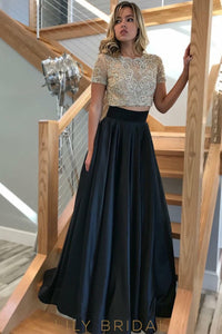 Short Sleeve Jewel Two-Piece A-Line Floor-Length Satin Prom Dress With Sheer Beaded Bodice