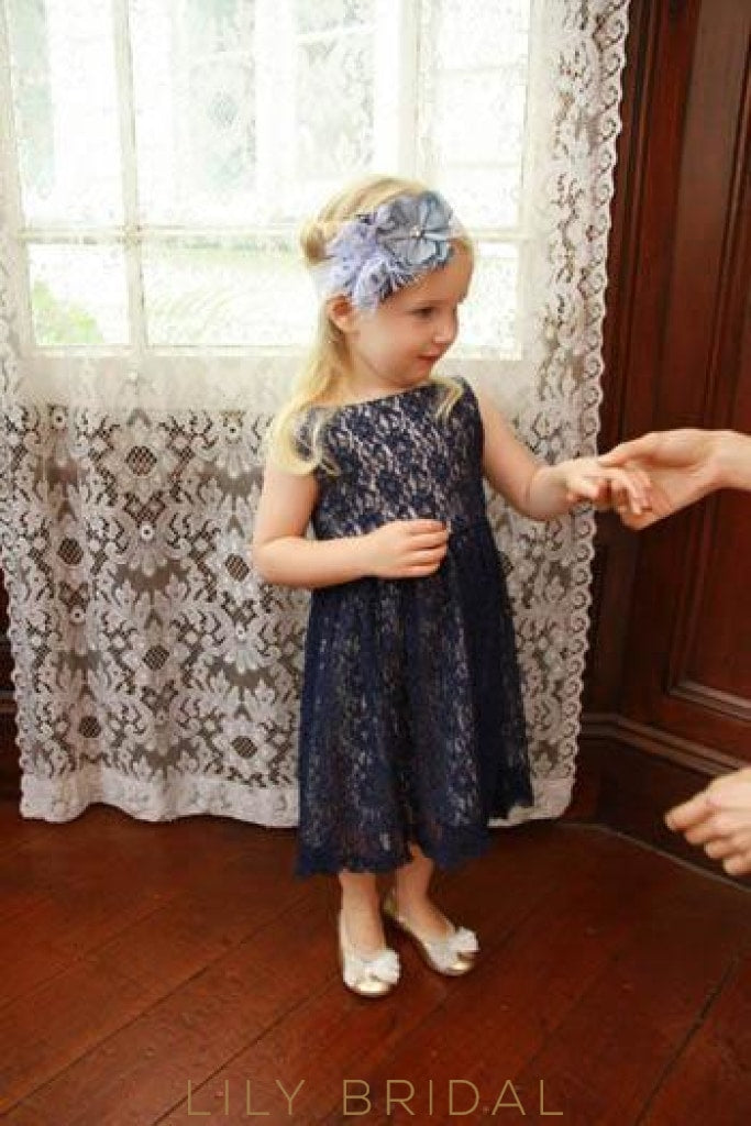 Dark Navy Bateau Neck Tea-Length Lace Flower Girl Dress