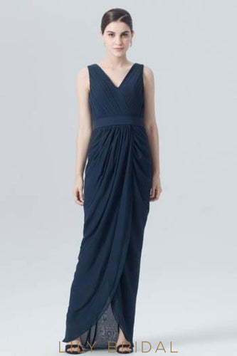 Dark Navy Chiffon Asymmetrical Evening Dress With V-Neck