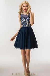 Dark Navy Chiffon Cocktail Dress With Illusion Lace Bodice