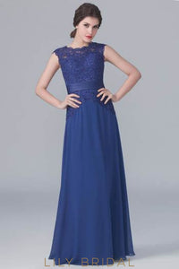 Dark Navy Chiffon Floor-Length Bridesmaid Dress With Sheer Lace Bodice