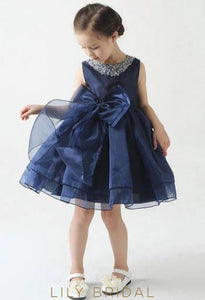 Dark Navy Organza Ball Gown Flower Girl Dress With Bowknot