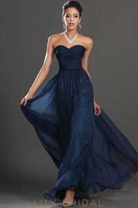 Dark Navy Sweetheart Floor-Length Beaded Chiffon Formal Evening Dress With Lace
