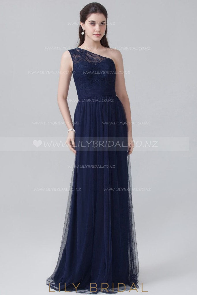 Dark Navy Tulle One-Shoulder Evening Dress With Lace