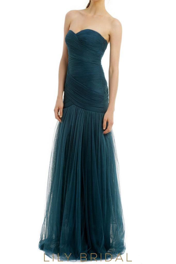 Sheathe Strapless Sweetheart Floor-Length Tulle Bridesmaid Dress With Ruched Top
