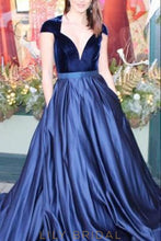 Deep V-Neck Cap Sleeve A-Line Sweep Train Satin Prom Dress