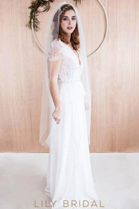 Deep V-Neck Cap Sleeve Pleated Chiffon Floor-Length Bridal Dress With Illusion Lace Bodice