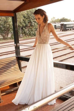 Deep V-Neck Floor-Length Chiffon Wedding Dress With Beaded Bodice