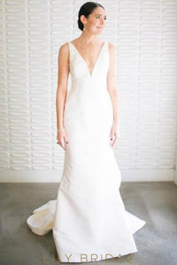 Deep V-Neck Open Back Ruffled Satin Mermaid Bridal Dress