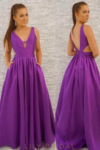 Deep V-Neck Open Back Side Cut Out Pleated Long Satin Prom Dress